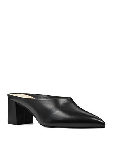 Nine West Helmer Block Heel Leather Mules-BLACK-9
