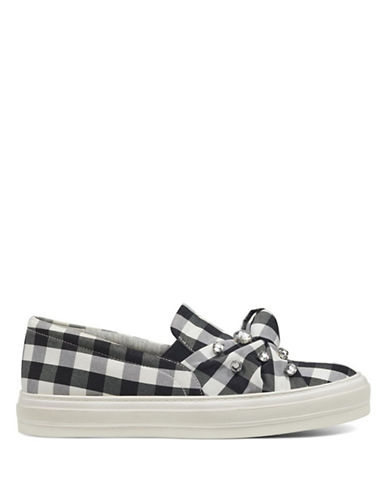 Nine West Orenda Gingham Slip-On Sneakers-BLACK WHITE-8