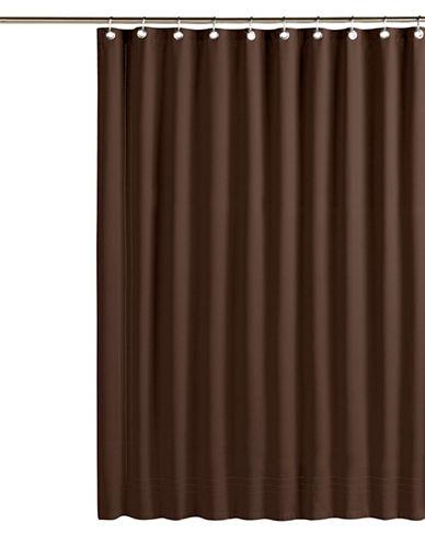 Glucksteinhome Hemstitch Shower Curtain-BROWN-One Size 84812732_BROWN_One Size