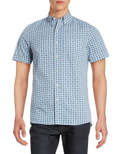 Kennington Checkerboard Short Sleeve Shirt-INDIGO-Large