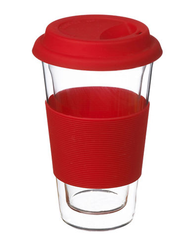Grosche Glassen Double Walled Travel Mug-RED-One Size