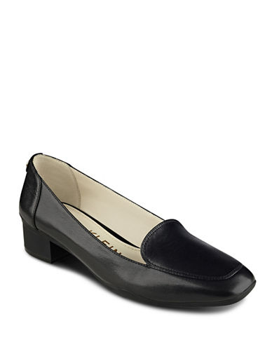 Anne Klein Daneen Patent Leather Loafers-BLACK-9
