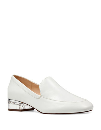 Nine West Lucite Heel Loafers-WHITE-6.5