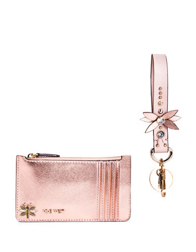 Nine West Dragon Fly Box Wristlet-ROSE GOLD-One Size