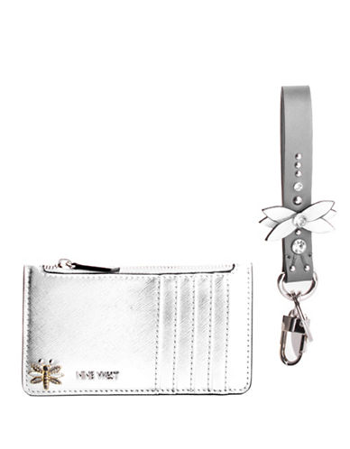 Nine West Dragon Fly Box Wristlet-SILVER-One Size