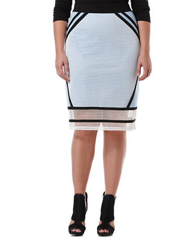 Harper + Liv Plus Plus Ponte and Mesh Combo Skirt-BLUE-18W plus size,  plus size fashion plus size appare
