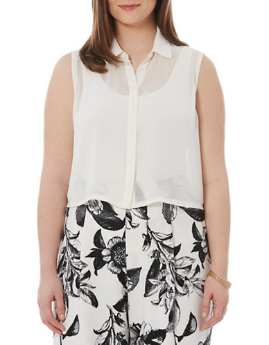 Harper + Liv Plus Plus Cropped Sheer Button Top-WHITE-16W plus size,  plus size fashion plus size appare