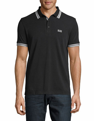 Boss Paddy Cotton Polo-BLACK-Large