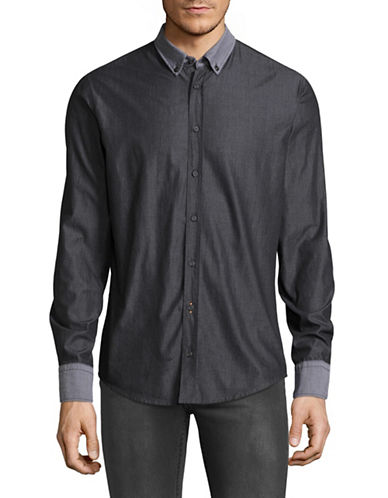 Boss Orange EdipoE Slim Fit Sport Shirt-BLACK-Large