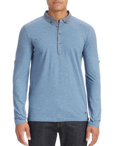 Boss Orange Mixed Media Polo Shirt-MEDIUM BLUE-Small
