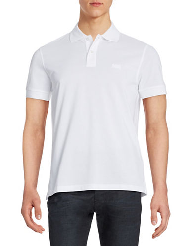 Boss Green Solid Polo Shirt-WHITE-X-Large