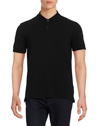 Boss Green Solid Polo Shirt-BLACK-X-Large