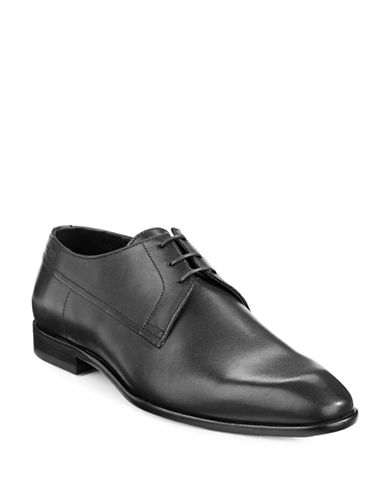 Hugo Drerom Textured Leather Shoes-BLACK-UK 9/US 10