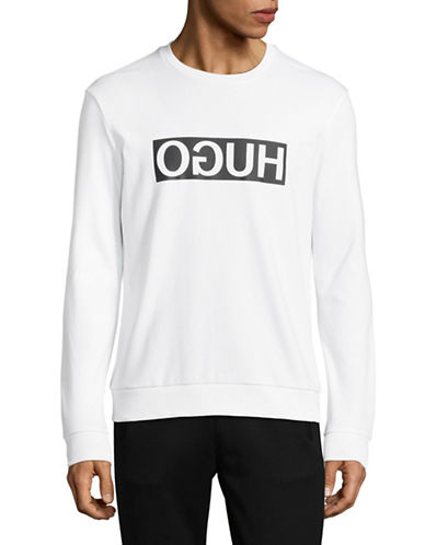 Hugo Dicago Mirrored Logo Sweatshirt-WHITE-Medium