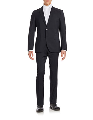 Hugo Solid Two-Piece Wool Suit-BLUE-42