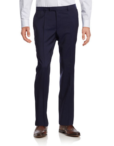 Hugo Sharp Lightweight Wool Suit Pants-BLUE-EU 54 Tall/US 38X34
