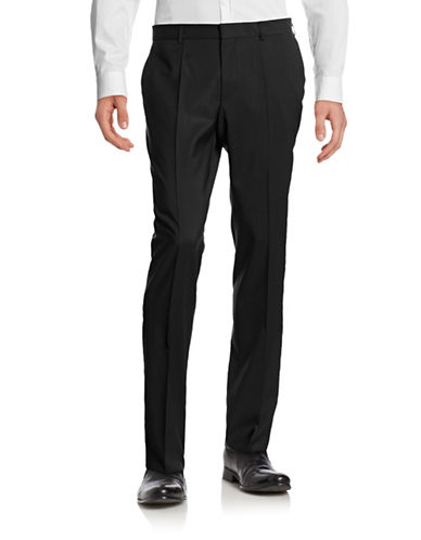 Hugo Genius Wool Straight-Leg Pants-BLACK-EU 54 Tall/US 38X34