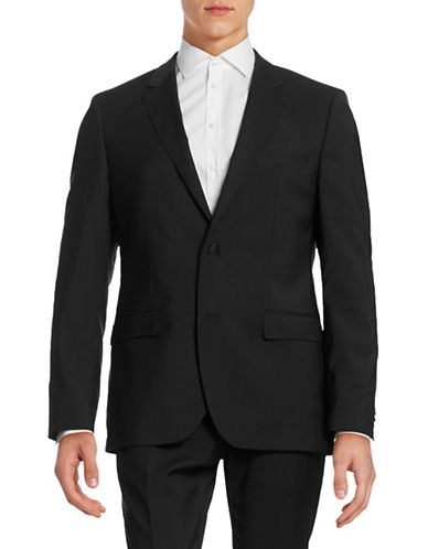Hugo Virgin Wool Suit Jacket-BLACK-38 Short