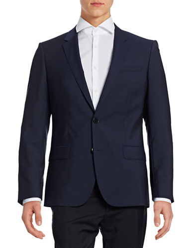 Hugo Pickstitched Two-Button Wool Jacket-BLUE-46