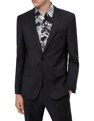 Hugo Pickstitched Two-Button Wool Jacket-BLACK-40 Tall