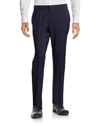 Hugo Genius Wool Straight-Leg Pants-BLUE-EU 56/US 40X32