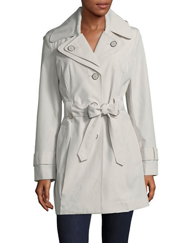 London Fog Single Breasted Hooded Trench-PEBBLE-Large