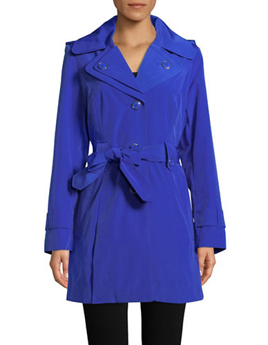 London Fog Single Breasted Hooded Trench-BLUE-Medium