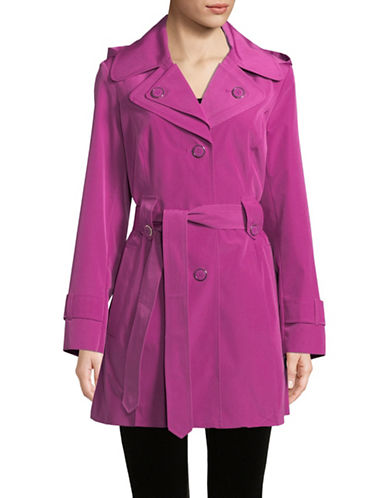 London Fog Single Breasted Hooded Trench-FUSCHIA-Small
