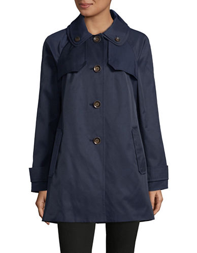 London Fog Double Collar Trench Coat-NAVY-Large