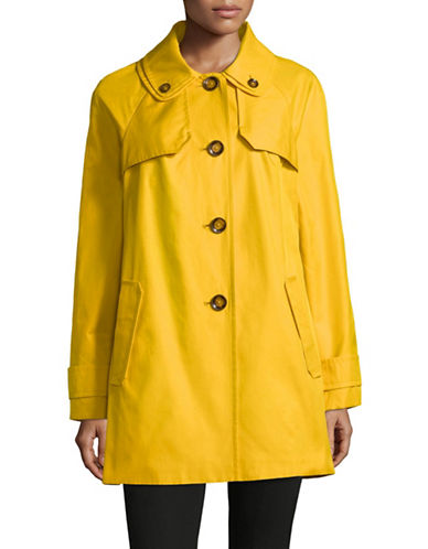 London Fog Double Collar Trench Coat-YELLOW-Large