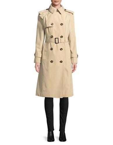 London Fog Double Breasted Trench Coat-STONE-Large