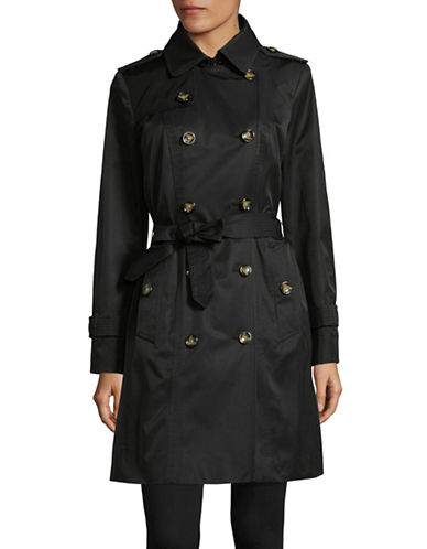 London Fog Double Breasted Trench with Hood-BLACK-X-Large