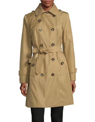 London Fog Double Breasted Trench with Hood-KHAKI-Large