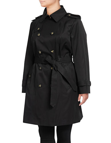 London Fog Plus Double Breasted Trench Coat-BLACK-1X