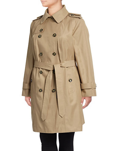 London Fog Plus Double Breasted Trench Coat-BEIGE-2X