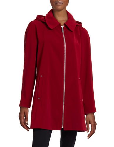 London Fog Hooded A-Line Twill Zip Jacket-RED-X-Small 88402473_RED_X-Small