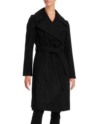 London Fog The Coat Edit Wool-Blend Robe Coat-BLACK-Large 88371265_BLACK_Large