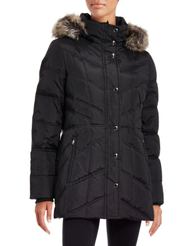 London Fog Hooded Chevron Quilted Coat-BLACK-Small 88393169_BLACK_Small