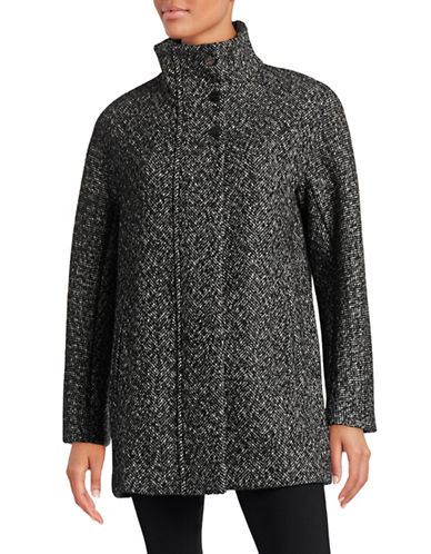 London Fog Dolman Wool-Blend Cocoon Coat-BLACK/WHITE-Medium