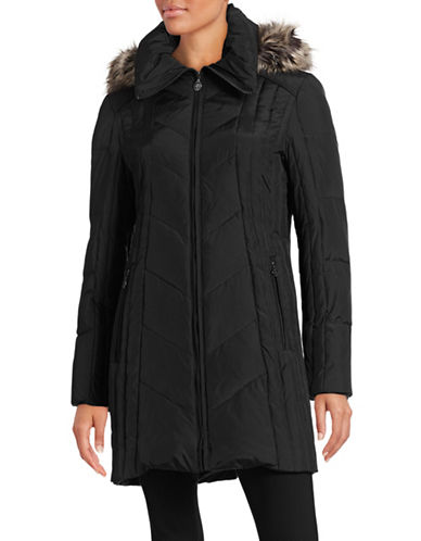 Anne Klein Chevron Quilted Walker Coat-BLACK-X-Small 88407189_BLACK_X-Small