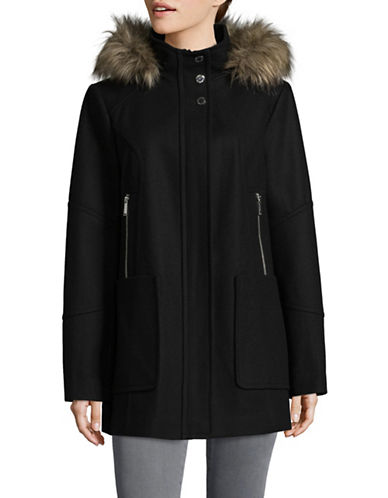 London Fog Faux Fur-Trimmed Hood Wool-Blend Coat-BLACK-Large