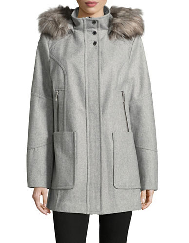 London Fog Faux Fur-Trimmed Hood Wool-Blend Coat-GREY-X-Small