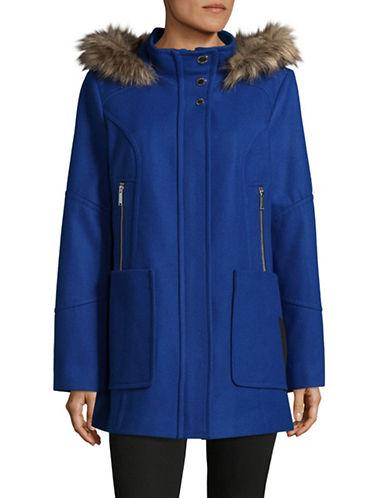 London Fog Faux Fur-Trimmed Hood Wool-Blend Coat-BLUE-Small