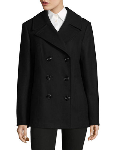 London Fog Wool-Blend Peacoat-BLACK-X-Small