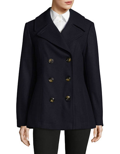 London Fog Wool-Blend Peacoat-NAVY-Large