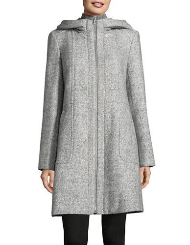 London Fog Boucle Knit Walker Coat-GREY-Medium