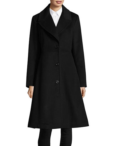 London Fog Wool-Blend Notch Fit-and-Flare Coat-BLACK-Small