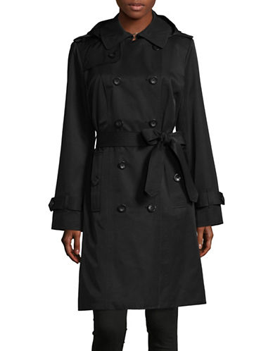 London Fog Hooded Trench Coat with Self-Tie-BLACK-2X