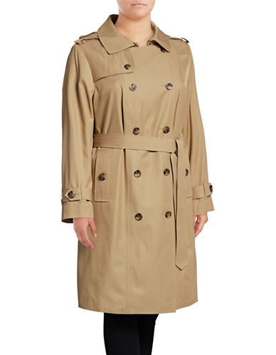 London Fog Hooded Trench Coat with Self-Tie-KHAKI-3X