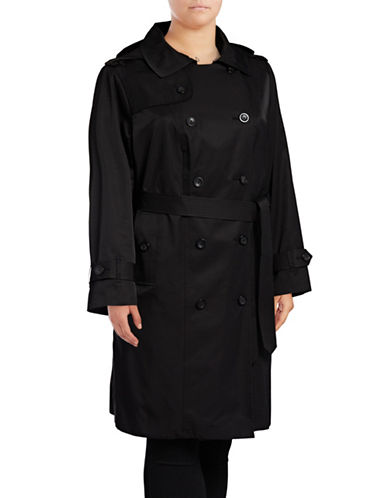 London Fog Hooded Trench Coat with Self-Tie-BLACK-Medium